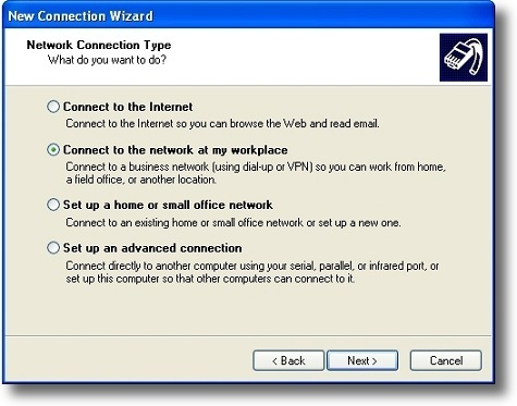 Microsoft Windows XP PPTP setup a VPN connection