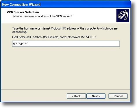 Microsoft Windows XP PPTP VPN server address
