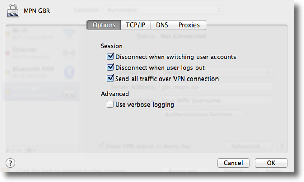 Apple OSX L2TP VPN advanced settings