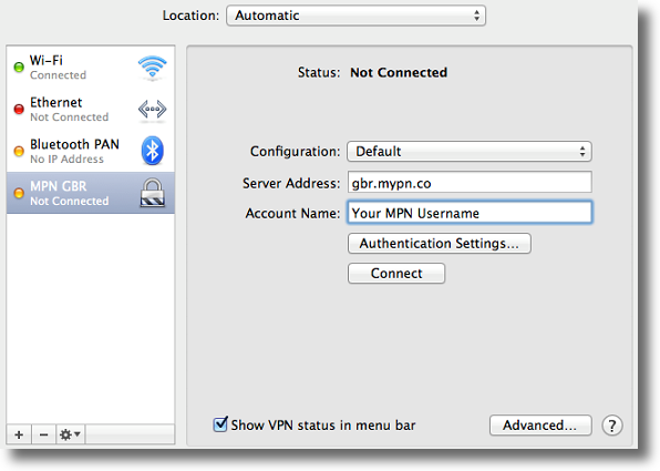 Apple OSX enter L2TP VPN details