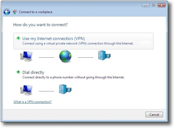 Microsoft Windows Vista PPTP connect using VPN