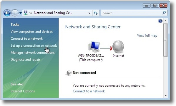 Microsoft Windows Vista PPTP setup vpn connection
