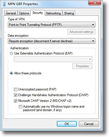 Windows 7 set VPN type to PPTP