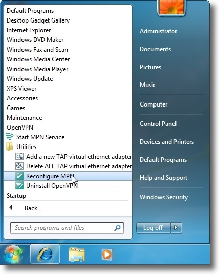 Microsoft Windows 7 OpenVPN reconfiguration