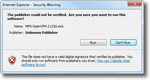 Microsoft Windows 7 OpenVPN security warning