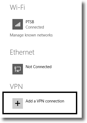 Add a new VPN connection in Windows