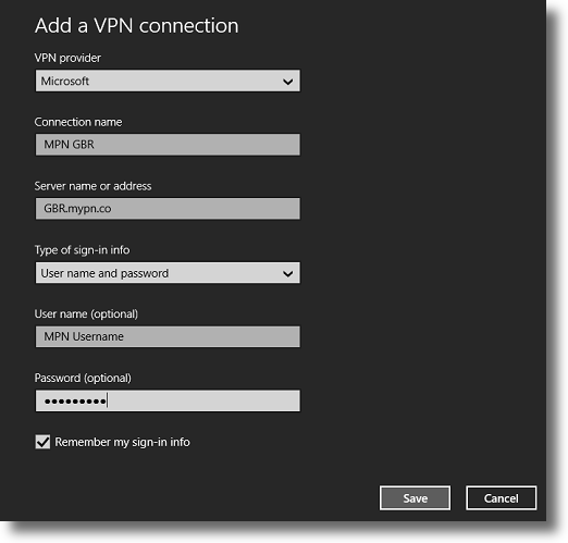 Enter the VPN details to create the connection