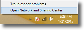 Open up the Network and Sharing Center in Windows