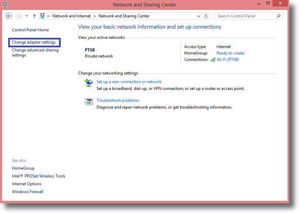 Windows 8.1 Change Network Adapter Settings