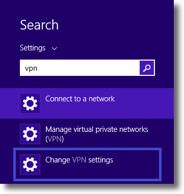 Windows 8.1 Change VPN settings