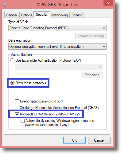 Windows 8.1 Change VPN type to PPTP under Security Tab