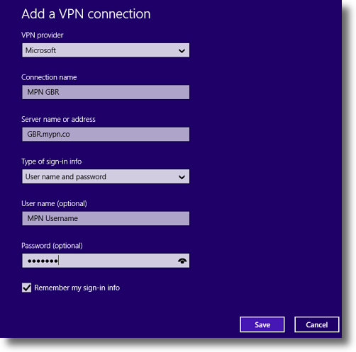 Windows 8.1 Enter PPTP VPN details