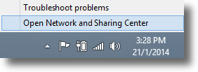 Windows 8.1 Open Network and Sharing Center from taskbar