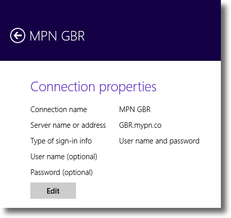Windows 8.1 VPN Connection Properties page