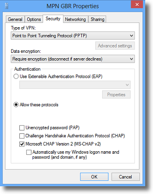 Windows 8 Change VPN type in Properties