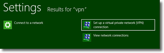 Windows 8 Search results for VPN