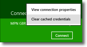 Windows 8 Clear stored VPN credentials