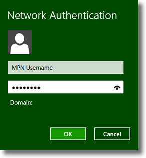 Windows 8 enter your VPN credentials