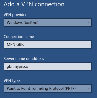 Windows 10 how to add PPTP VPN