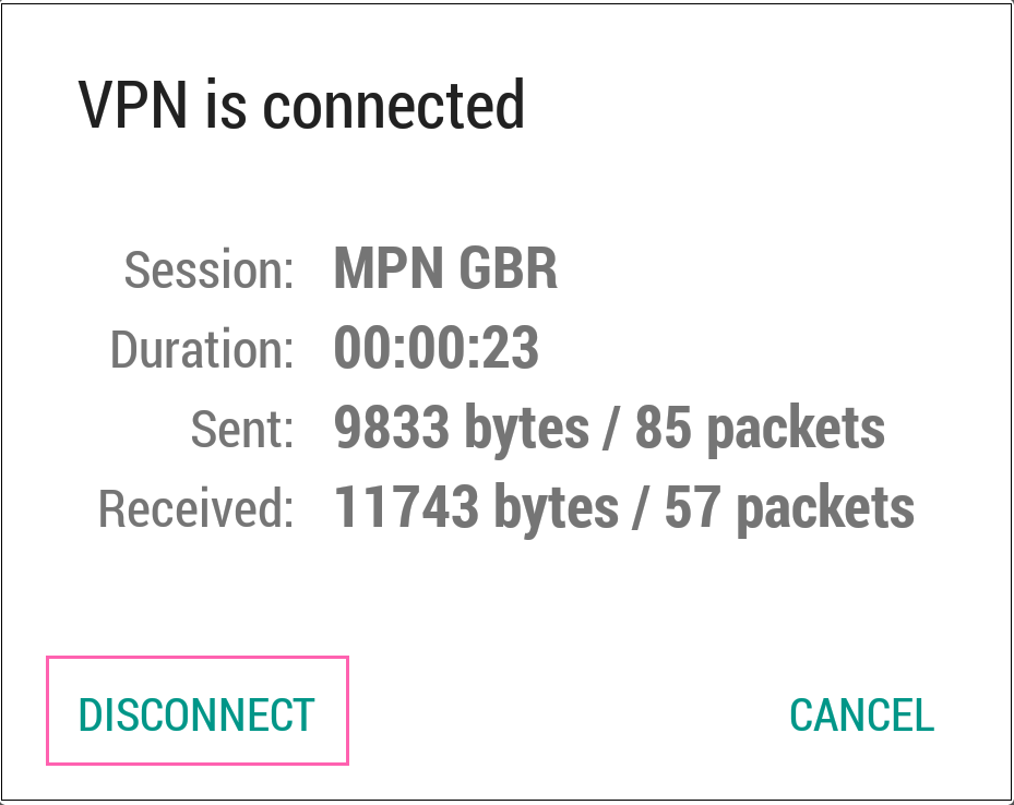 Disconnecting from Android L2TP VPN