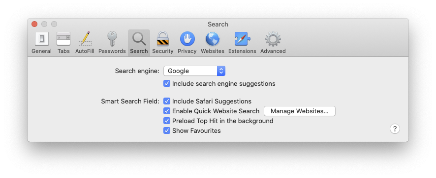 on the search preferences page, click on the search engine drop down